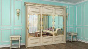 Шкаф купе с фрезеровкой и зеркальным панно Калуга