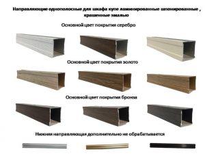 Направляющие однопосные для шкафа купе ламинированные, шпонированные, крашенные эмалью Калуга